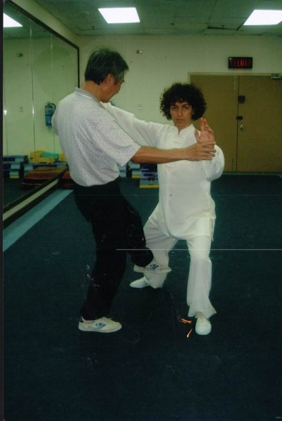 Master Lim Lai Leong with a student
